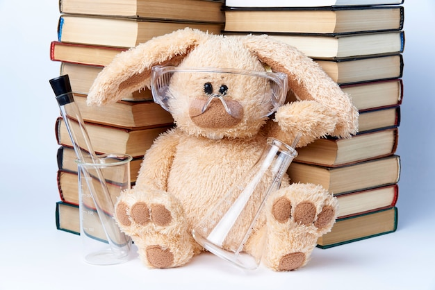 Un coniglio giocattolo in occhiali protettivi con becher e flaconi si siede vicino a una pila di libri.