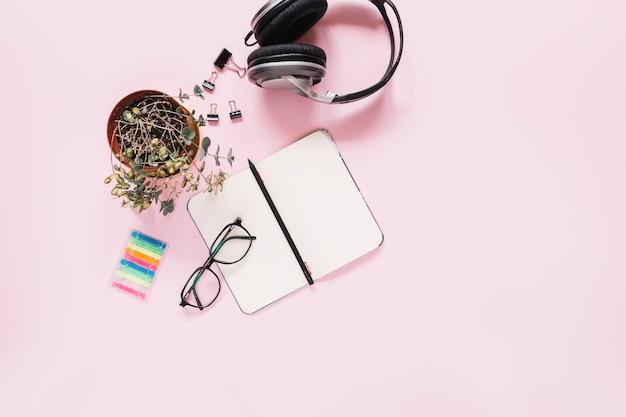 Un diario e una penna in bianco aperti con cancelleria su fondo rosa
