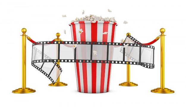 Un film e popcorn su uno sfondo di pilastri con una corda rossa. rendering 3d.