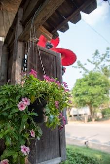 Un fiore sul vaso appeso con finestra in legno in vecchio stile.