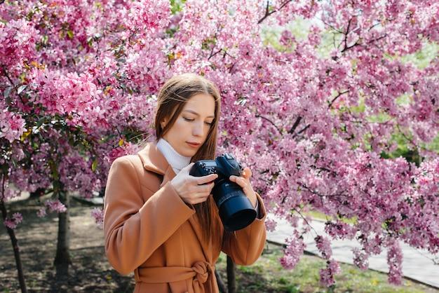 Un fotografo giovane e bella ragazza cammina e scatta foto contro un albero di mele in fiore. interessi, ricreazione.