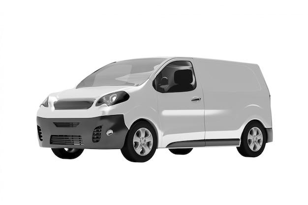 Un furgone su bianco - rendering 3d