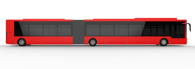 Un grande autobus urbano con una parte allungata aggiuntiva per una grande capacità passeggeri