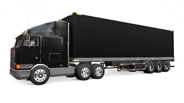 Un grande camion nero retrò con una parte per dormire e un'estensione aerodinamica trasporta un rimorchio con un container marittimo. rendering 3d.