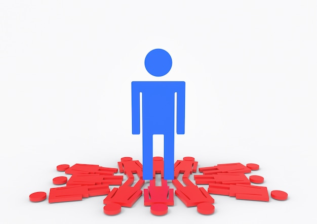Un grande maschio blu che si leva in piedi sui segni femminili rossi di genere.