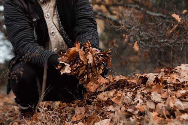 Un grappolo d'autunno, fogliame giallo sul terreno, pulizia delle foglie. lavorare in giardino.