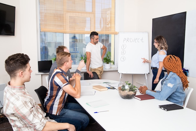 Un gruppo di studenti in una formazione aziendale ascolta l'oratore. lavoro di squadra in un'azienda internazionale. una donna parla di un progetto