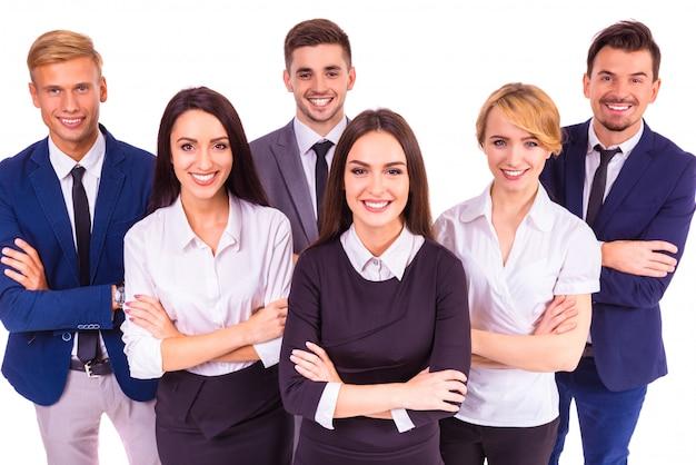Un gruppo di uomini d'affari sorridente
