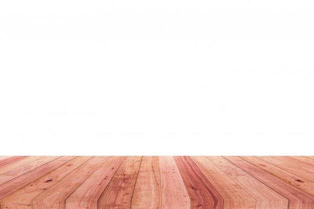 Un'immagine di uno scrittorio di legno davanti ad una priorità bassa astratta di bianco.