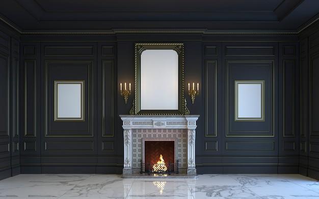 Un interno classico è in toni scuri con camino. rendering 3d.