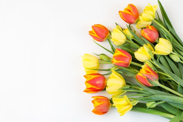 Un mazzo di tulipani gialli e spazio libero per il testo