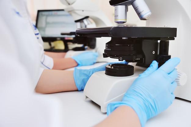 Un medico o uno scienziato esamina i batteri al microscopio