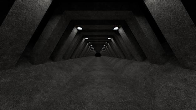 Un modello di corridoio in cemento con illuminazione da utilizzare come sfondo per il tuo design. rendering 3d.
