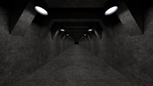 Un modello di corridoio in cemento con illuminazione da utilizzare come superficie