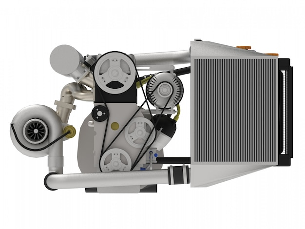 Un motore turbo a quattro cilindri ad alte prestazioni per un'auto sportiva. rendering 3d.