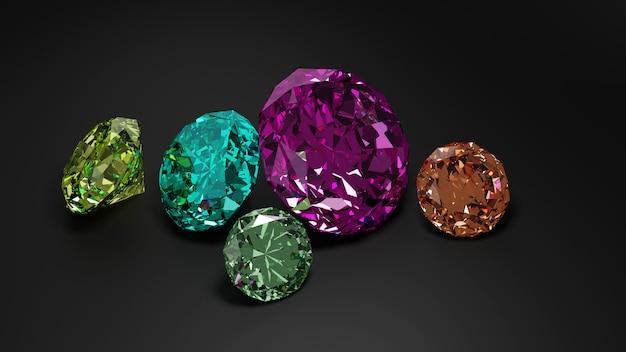 Un mucchio di diamante colorato su sfondo scuro.