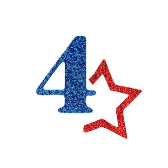 Un numero blu brillante quattro e un rosso non intero. concetto 4 luglio giorno dell'indipendenza degli stati uniti.