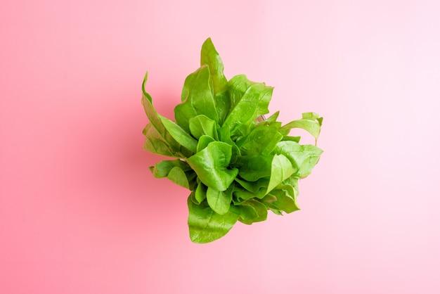 Un pacco di spinaci freschi sul concetto sano di cibo del fondo rosa