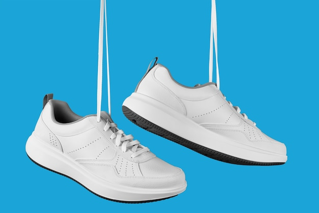 Un paio di scarpe da ginnastica maschili bianche