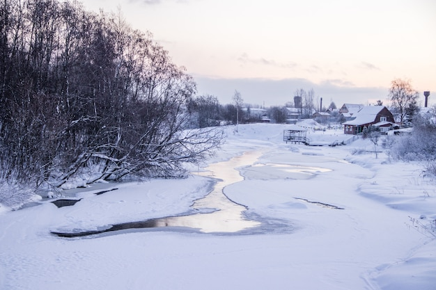 Un piccolo fiume in inverno. paesaggio invernale. acqua nei fiumi. alberi d'inverno. neve.