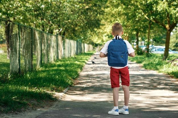Un ragazzo di una scuola elementare con uno zaino per strada