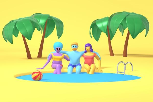 Un ragazzo e due ragazze sono seduti a bordo piscina