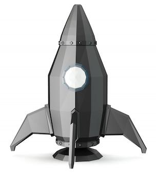 Un razzo spaziale 3d isolato su sfondo bianco