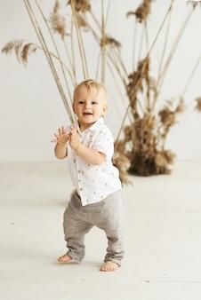 Un ritratto di un piccolo ragazzo allegro su uno sfondo bianco con canne