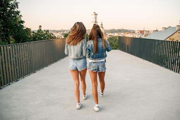 Un ritratto di vista frontale di due amici felici che camminano e che parlano al tramonto in un parco