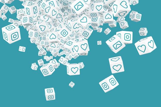 Un sacco di blocchi che cadono con le immagini dei social media