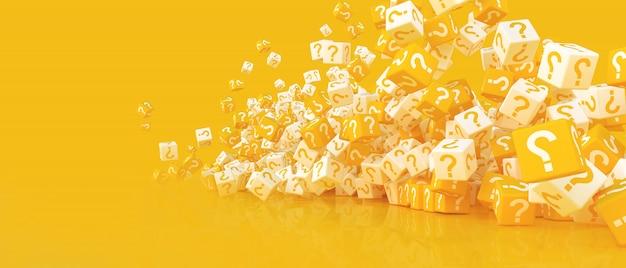 Un sacco di cubi che cadono con punti interrogativi. illustrazione 3d