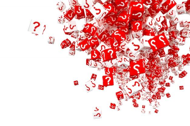 Un sacco di dadi rossi e bianchi che cadono con punti interrogativi sui lati. illustrazione 3d