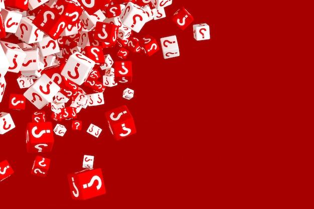 Un sacco di dadi rossi e bianchi che cadono con punti interrogativi sui lati