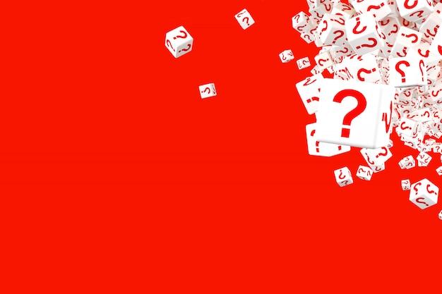 Un sacco di dadi rossi e bianchi che cadono con punti interrogativi sui lati.