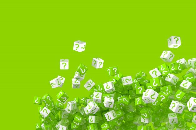 Un sacco di dadi verdi e bianchi che cadono con punti interrogativi sui lati. illustrazione 3d
