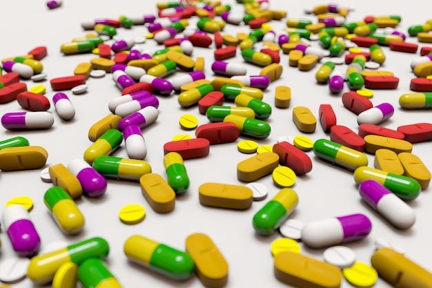 Un sacco di farmaci colorati e pillole dall'alto. illustrazione di rendering 3d