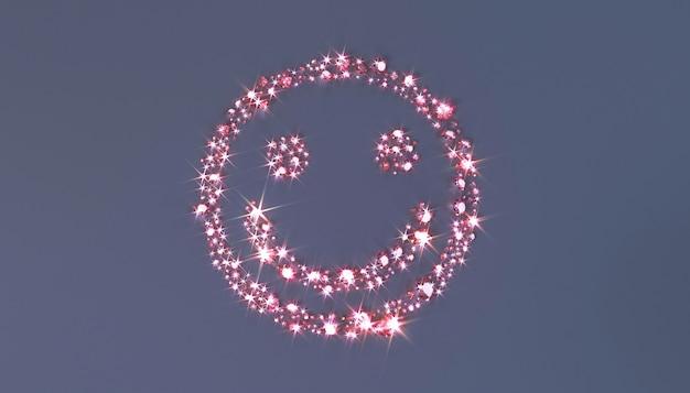 Un sacco di pietre preziose rosa sparse sulla superficie sotto forma di una faccia sorridente.
