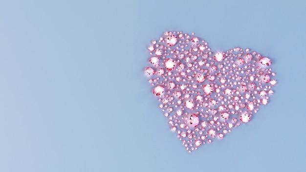 Un sacco di pietre preziose sparse sulla superficie a forma di cuore. illustrazione 3d