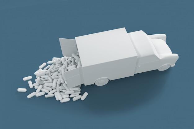 Un sacco di pillole fuoriuscite dal camion. il concept art sul tema della somministrazione di farmaci