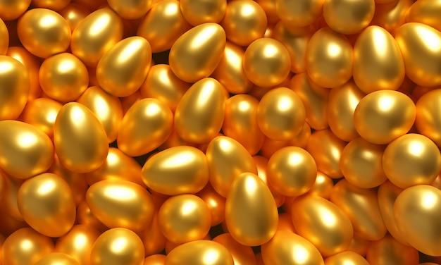 Un sacco di uova d'oro. illustrazione 3d