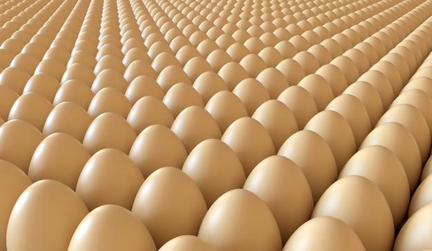 Un sacco di uova in una cassa