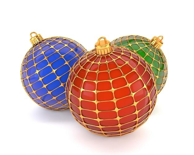 Un set di decorazioni natalizie, isolato su uno sfondo bianco. decorazioni natalizie. illustrazione 3d
