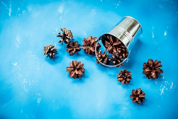 Un set di pigne nel secchio decorativo d'argento, isolato su uno sfondo blu. i coni di cedro sono una decorazione e un alimento naturale. cono di pino e piccolo secchio di metallo per la decorazione. copia spazio