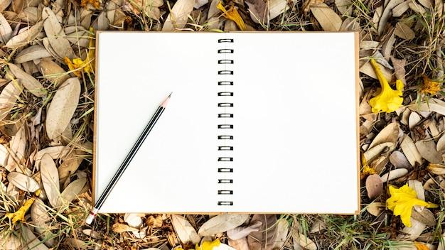 Un taccuino in bianco e una matita disposti su una foglia gialla, rossa, arancio e sui fiori secchi autunno nella vista superiore del fondo della natura di autunno