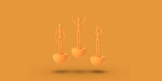 Un uomo di tre giocattoli di colore arancio su un piedistallo astratto di sport. concetto minimo: vincitore, perdente. rendering 3d.