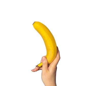 Una banana isolata su bianco