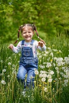 Una bella ragazza allegra divertente con due code attraversa un campo con denti di leone. l'estate è qui