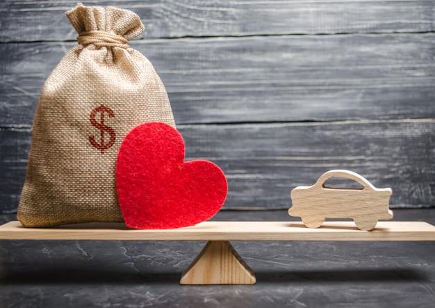Una borsa di soldi e un cuore con una macchina di legno in miniatura sulla bilancia. assicurazione auto.