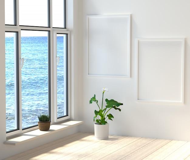 Una camera moderna con grandi finestre con vista sul mare. rendering 3d.