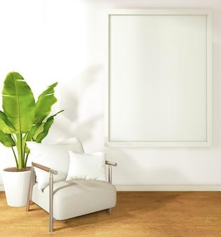 Una cornice su una stanza della parete bianca in stile tropicale con divani e piante in vaso. rendering 3d